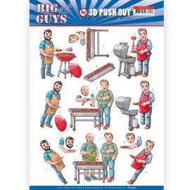 Bilder, 3D Bilder und ausgestanzte Teile usw... 1 Pushout / A4 Stanzbogen, Männer Motive, Grill,