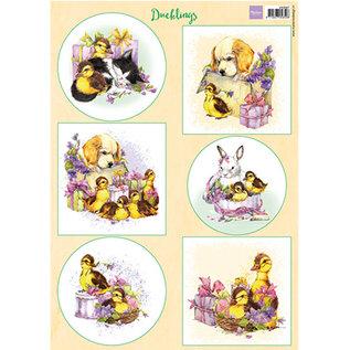 Marianne Design Fotolijst, A4, kuiken, konijn, hond en kat