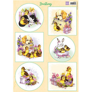 Marianne Design Picture sheet, A4, chick, rabbit, dog and cat
