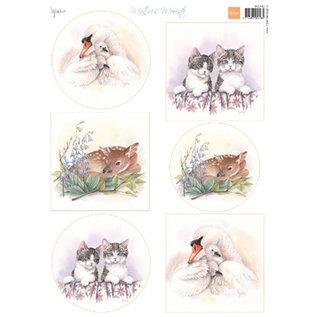 Marianne Design Blat met Beeldjes A4, Mattie's mooiste babydieren