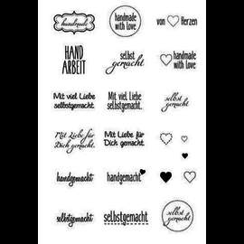 Stempel / Stamp: Transparent Stamp 7.4 x 10.5, with text, 21 pieces, handmade, handmade, and much more