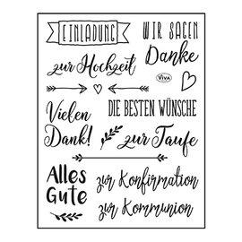 VIVA DEKOR (MY PAPERWORLD) Stempel, 14 x 18 cm, Bedste ønsker: på tysk