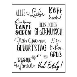 VIVA DEKOR (MY PAPERWORLD) Stamp, 14 x 18cm, texts, all the best: in German