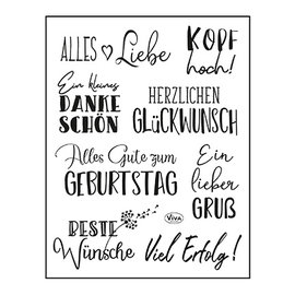 VIVA DEKOR (MY PAPERWORLD) Stempel, 14 x 18 cm, teksten, het allerbeste: in het Duits