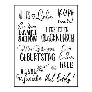 VIVA DEKOR (MY PAPERWORLD) Stempel, 14 x 18 cm, tekster, alt bedst: på tysk