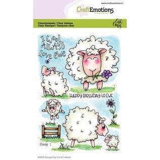 Craftemotions Motiefstempel, A6, zoete schapen
