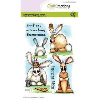 Craftemotions Motiefstempel, A6, schattige konijnen