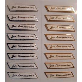 STICKER / AUTOCOLLANT Adhesivo 3D con efecto metálico, para la comunión en una elección: en oro o plata