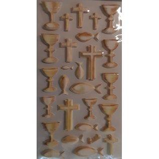 STICKER / AUTOCOLLANT Softy stickers, 27 stuks, communie / bevestiging, selectie in goud of zilver