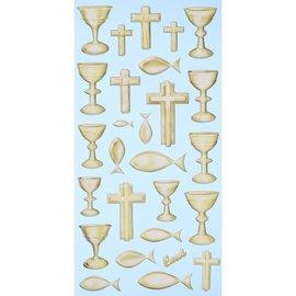 STICKER / AUTOCOLLANT Pegatinas softy, 27 piezas, comunión / confirmación, selección en oro o plata.