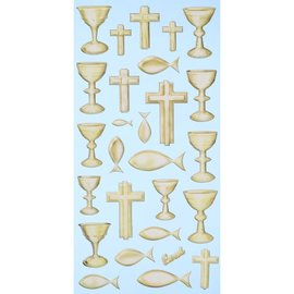 STICKER / AUTOCOLLANT Softy stickers, 27 pieces, communion / confirmation, selection in gold or silver