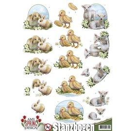 Bilder, 3D Bilder und ausgestanzte Teile usw... Feuilles pré-découpées: lapins, moutons et poussins