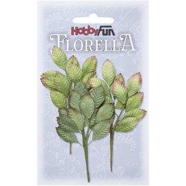 Stamperia und Florella 3 grene med blade af morbærpapir, ca. 10 cm