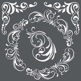 Stamperia Stencil A4 mixtas tapices Hojas Vides