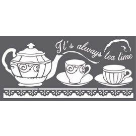 Stamperia und Florella Kunststencil, Stamperia, 12x25 cm, 0,25 mm tyk, Tea Time