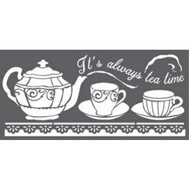 Stamperia und Florella Pochoir d'art, Stamperia, 12x25cm, 0,25 mm d'épaisseur, Tea Time