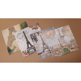 DECOUPAGE AND ACCESSOIRES 8 designer servietter, decoupage, 4 forskjellige motiver: Paris
