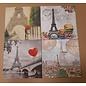 DECOUPAGE AND ACCESSOIRES 8 design servetten, decoupage, 4 verschillende motieven: Parijs