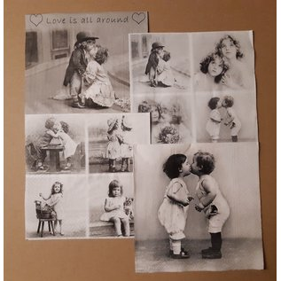 DECOUPAGE AND ACCESSOIRES 4 designer napkins, decoupage: Love is in the air