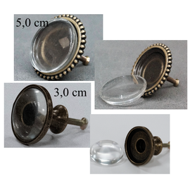 LaBlanche Metal knob with glass cabochon - large, 2 different ones to choose from