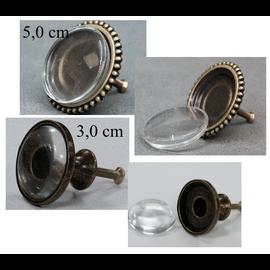 LaBlanche Pomo de metal con cabujón de vidrio: grande, 2 diferentes para elegir