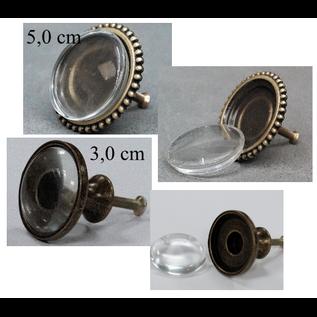 LaBlanche Bouton en métal avec cabochon en verre - grand, 2 différents au choix