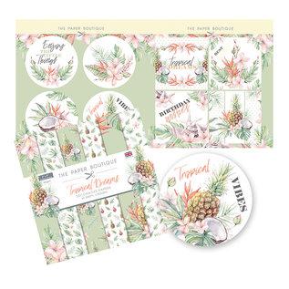 Karten und Scrapbooking Papier, Papier blöcke NUEVO! ¡Bloque de papel, Tropical Dreams, 36 hojas, diseños 6x6, 20 x 20 cm, 160/300 g / m2 + 32 adornos (perforados)!