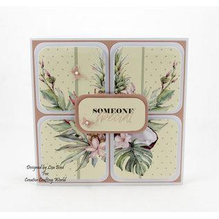Karten und Scrapbooking Papier, Papier blöcke NOUVEAU! Bloc de papier, Tropical Dreams, 36 feuilles, motifs 6x6, 20 x 20 cm, 160/300 g / m² + 32 toppers (perforés)!