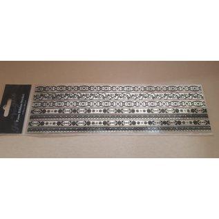 STICKER / AUTOCOLLANT 5 spiegelstickers, met zwart fluwelen motieven, randen