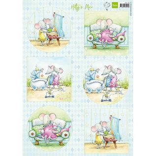 """Marianne Design 2x A4, Bilderbogen, niedliche Baby Mäuschen """"Hetty"""""""