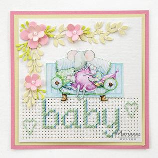"""Marianne Design 2x A4, fotobladen, schattige babymuis """"Hetty"""""""