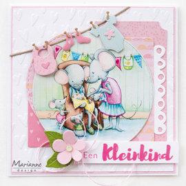 """Marianne Design 2x A4, billedark, sød babymus """"Hetty"""""""