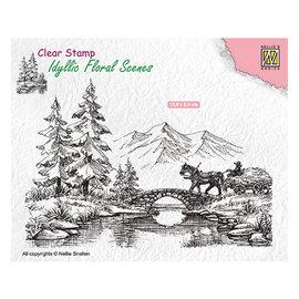 Nellie Snellen Nellie Snellen, stempel, 138x95mm, landskap med hestevogn
