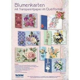 Håndverkssett, for å designe 10 blomsterkort med gjennomsiktig papir!