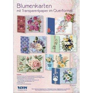 BastelSET, zur Gestaltung von 10 Blumenkarten mit Trasparentpapier!