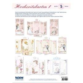 ¡Juego de manualidades para diseñar 5 tarjetas de boda plegadas!