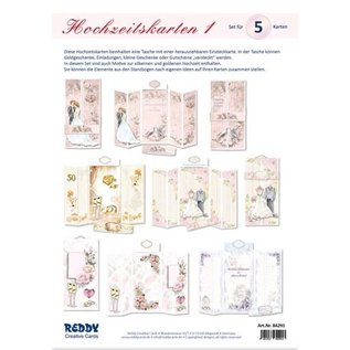 BastelSET, zur Gestaltung von 5 gefaltenen Hochzeitskarten!