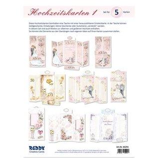 Knutselset, voor het ontwerpen van 5 gevouwen trouwkaarten!