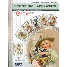 Dossier artisanal, pour concevoir 12 cartes + 12 mini cartes! Bons amis - Noël
