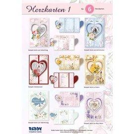Craft set-kortsett komplett for utforming av 6 hjertekort!