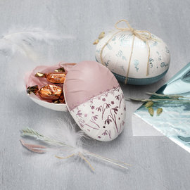 Holz, MDF, Pappe, Objekten zum Dekorieren 1 huevo de dos partes, H 12 cm, D: 9 cm