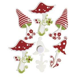 Nestje gelukspaddestoel hout met lijmpunt, 4,5 cm, doos van 3 soorten, elk 4 stuks