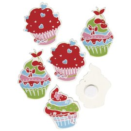 Wooden sugar tarts with glue, 3-3.5 cm, box of 3 types, each 4 pieces