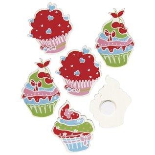 Rayher Houten suikertaartjes met lijm, 3-3,5 cm, doos van 3 soorten, elk 4 stuks