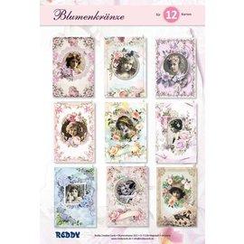 NYHED! Håndværk sæt blomster kranser! At designe 12 romantiske lykønskningskort!