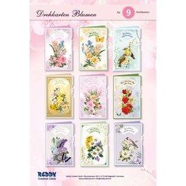 NYHED! Håndværkskortsæt, til design af 9 blomster med vendekort, lykønskningskort!