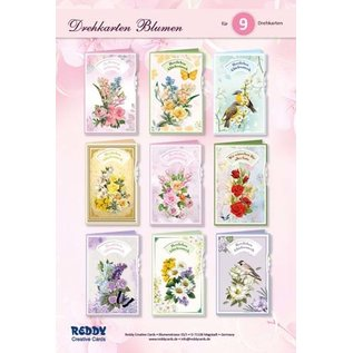 NEW! Craft set card set, for the design of 9 turning cards flowers, greeting cards!