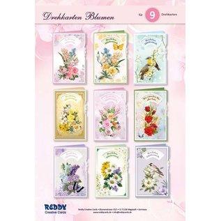 NIEUW! Knutselset kaartenset, voor het ontwerp van 9 draaikaarten bloemen, wenskaarten!