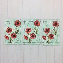Wild Rose Studio`s A6 stamp: coquelicots, clôture
