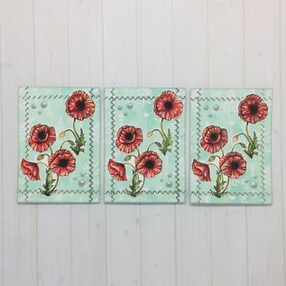 Wild Rose Studio`s A6 stempel: papavers, omheining